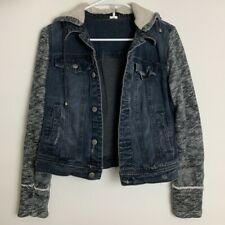 Free People Distressed Denim Sweater Jacket with Hood Size Small