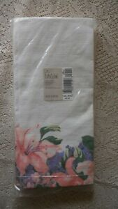 """Vintage Hallmark Paper Table Cover 54 x 102"""" Floral Pink and Purple  Made in USA"""