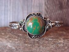 Native American Jewelry Nickel Silver Green Howlite Bracelet by Phoebe Tolta