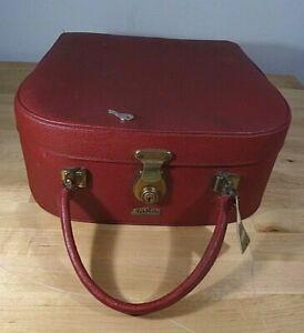 Lovely Red Vintage Antler Vanity Case Original Label & Key 1960s Brass Fittings
