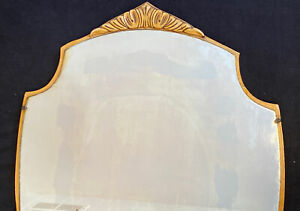 "Vintage French Provincial Wood Mirror Art Deco Dresser Vanity Mirror Carved 31"""