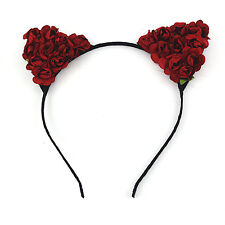 Floral Cat Ears Headband Party Costume Women Lady Head hair band Hair Accessory*