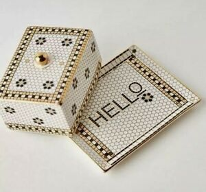 NEW ANTHROPOLOGIE HELLO BUTTER DISH BISTRO TILE MOSAIC 2 PCS GOLD ACCENT CHIC