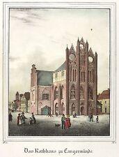 Tangermünde-antiguo ayuntamiento-Saxonia-iluminados litografía 1836