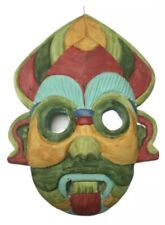 "Vintage Mask - Colorful Demon Indonesia Hand Carved Hand Painted Wood 11"" X 8"""