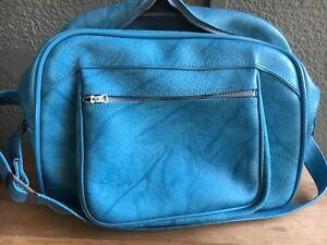 American Tourister Vintage Luggage Blue Leather Original Shoulder Overnight Bag