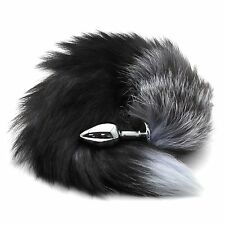 Faux fur fox cat tail Roleplay with silver Metal plug For Adult Fancy Dress