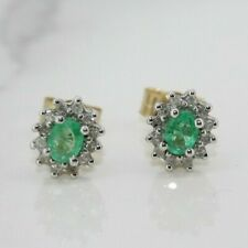 9ct Yellow Gold Emerald and Diamond Cluster Earrings