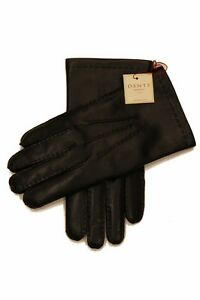 Dents: Black Handsewn Cashmere Lined Hairsheep Leather Gloves - Size 9  Black Ha
