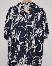 Paradise Found Mens Button Up Hawaiian Shirt Size XL Blue White Short Sleeve