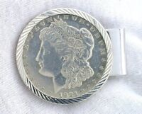 MORGAN SILVER DOLLAR HINGED BACK MONEY CLIP STERLING SILVER BEZEL  RHODIUM PLATE