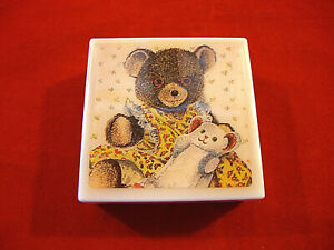 "Cute Decorative Plastic Lidded Box with Teddy Bear Holding Doll-2 X 2"" Square"