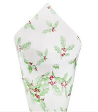 10 SHEETS CHRISTMAS HOLLY GREEN RED CLEAR CELLOPHANE CELLO GIFTS HAMPER WRAPPING