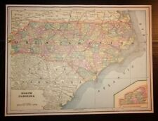 Antique 1893 Map of North Carolina