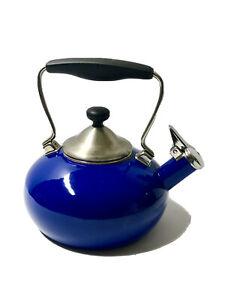 Chantal Cobalt Blue Whistling Teapot Tea Kettle Enamel on Steel 1.8 Qt Quart