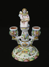 """RUSSIAN TERRACOTTA ANGEL 7.5"""" CANDLESTICK HOLDER - BEAUTIFULLY PAINTED DESIGN"""
