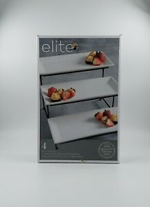 Gibson Elite Gracious Dining 3 Tier Rectangular Serving Plate Set w/ Metal Stand