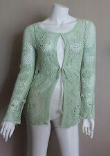 Escada Light Green Crochet Long Sleeve Cardigan Sweater Sz S