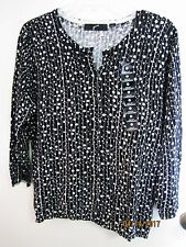 NWT GNW Ladies Black & White 3/4 Sleeve Button Down Cardigan Top Shirt Sweater L