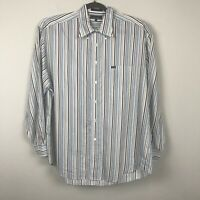 Faconnable Men's size XXL Brown Green White Strped Long Sleeve Shirt