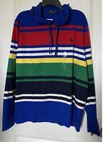 NWT Polo Ralph Lauren Mens Striped Pony Logo Cotton Hoodie L/S T-Shirt  Sz L NEW