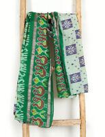 Vintage Rectangle Silk Black Green Ikat Scarf Reversible Shawl Hijab Stole Wrap
