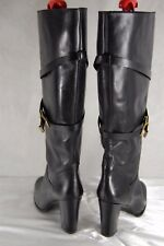 Massimo Dutti MADE IN ITALY BLACK LEATHER WOMEN RIDING BIKER  BOOTS EU 41 US 10