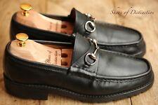 Vintage Men's Gucci Black Leather Shoes Silver Bit Loafers Uk 7.5 Eu 8.5 Us 41.5