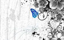 Encadrée Imprimer-Papillon bleu dans un noir & blanc rétro cadre (photo poster)