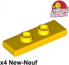 Lego 4x Plate Modified 1x3 2 Studs Double Jumper jaune/yellow 34103 NEUF