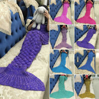 Mermaid Tail Crocheted Sofa Snuggie Blanket Carpet Knit Soft and Warm Adult Chil
