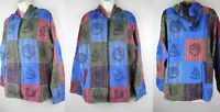 Jacket Stonewash Patchwork Hooded Casual Boho Shirt Hippy Coat Festival S20