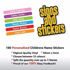 100 Personalised Childrens Name Stickers  Labels Lunch boxes - School pens