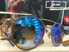 Occhiali da sole da uomo con montatura in beige a tecnologia lenti specchio