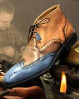 Men's Handmade Two Tone Patina Ankle Boots custom leather boots for men