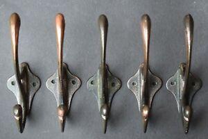 Set of 5 Antique Art Nouveau Period Cast Iron Coat Hooks old vintage reclaimed