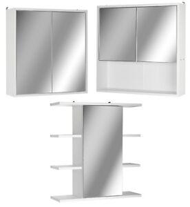 White Wooden Wall Mounted Mirror Door Bathroom Cabinet Medicine Make Up Storage