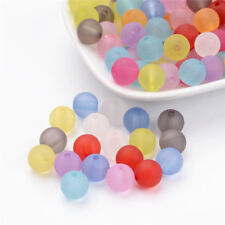 200 Pcs 10mm Mixed Transparent Round Frosted Acrylic Ball Beads Crafts Hole 2mm