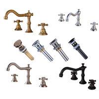 Widespread Bathroom Basin Faucet Sink Waterfall 3 Holes 2 Knobs Tub Mixer  Tap