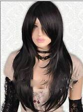 HELLOJF1267 new vogue style long black straight cosplay hair wig wigs for women