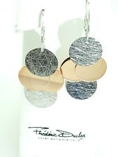 Frederic Duclos designer Sterling Silver and Rose Gold plated coin earrings