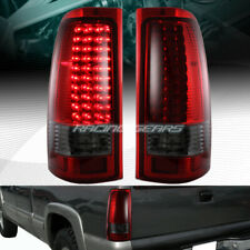 Chrome Housing Red/Smoke Lens LED Tail Light Fit 99-06 GMC Sierra 1500 2500 3500