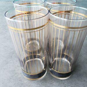 Set 4 Vintage Culver USA MCM Devon Gold  Black Stripes High Ball Barware Signed