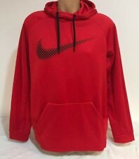 NIKE MEN'S SIZE LARGE THERMA FIT PULLOVER HOODIE RED / BLACK 839100 657 NWT
