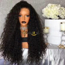 Jet Black Kinky Curly Water Wave Lace Front Wig with Baby Hair Synthetic Wigs