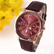Geneva Ladies Watch - Brown Faux Leather Strap - Workplace or Evening Wear