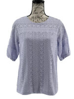 Ann Taylor Blouse NWOT Women's Purple Short Sleeve Lace Top Size Small