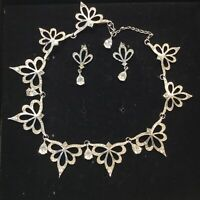 Franklin Mint Crystal Necklace Earrings Set 'Nightfire' Alfred Durante Vintage R