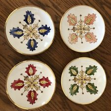 Williams Sonoma Salad Bowl Plate Set Of 4 Blue/green/yellow/red/pinK  Flowers 🌸