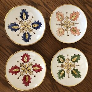 """Williams Sonoma Salad Bowl Plate Set Of 4 Blue/green/yellow/red/pinK Floral  6"""""""